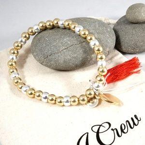 J.CREW Beads and Tassel Stretch Bracelet NWT